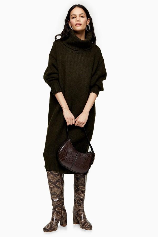 Topshop Womens Khaki Oversized Cocoon Knitted Dress - Khaki