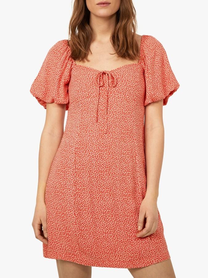 Warehouse Puff Sleeve Daisy Dress, Orange
