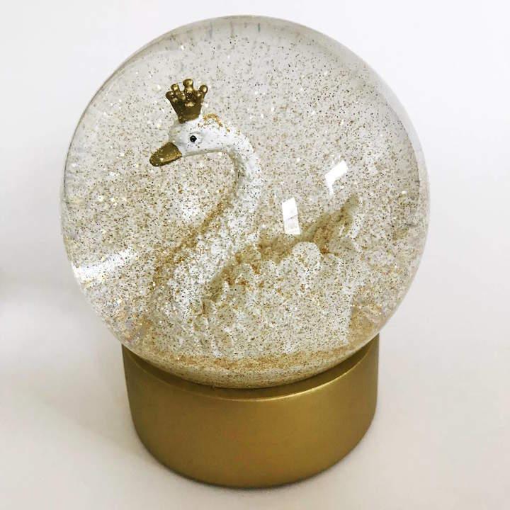 French Grey Interiors Swan Snow Globe