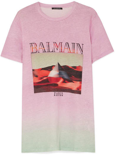 Balmain - Printed Ombré Linen T-shirt - Pink