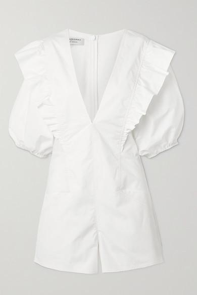 Philosophy di Lorenzo Serafini - Ruffled Cotton-poplin Playsuit - White