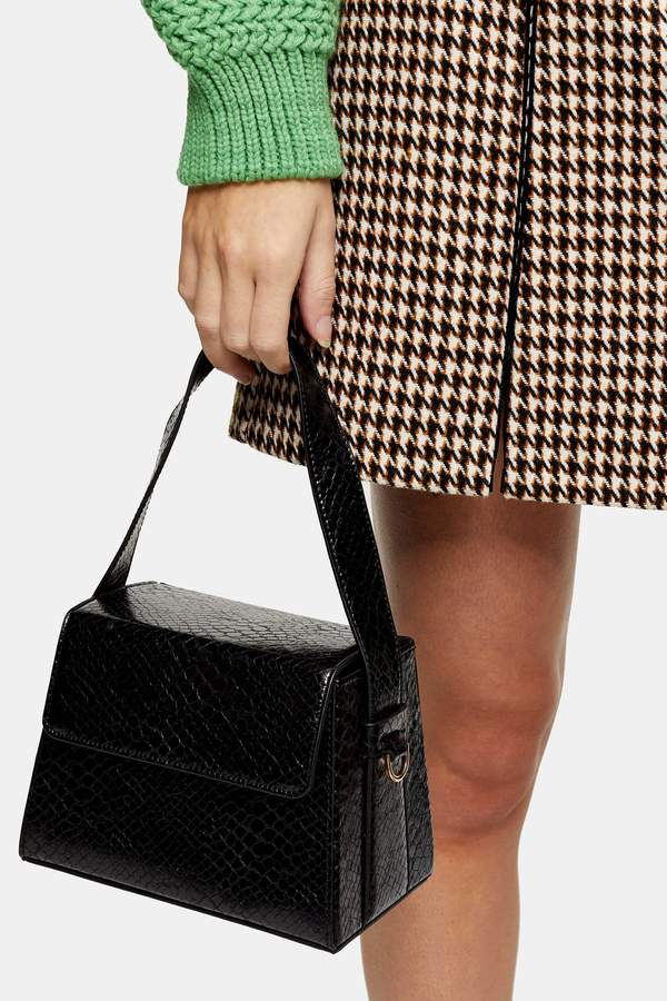 Topshop Womens Guru Black Boxy Grab Bag - Black