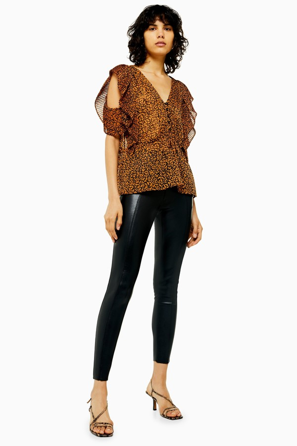 Womens Black Straight Leg Faux Leather Leggings - Black