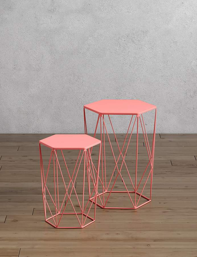 LoftMarks and Spencer Wire Nest of Tables Coral