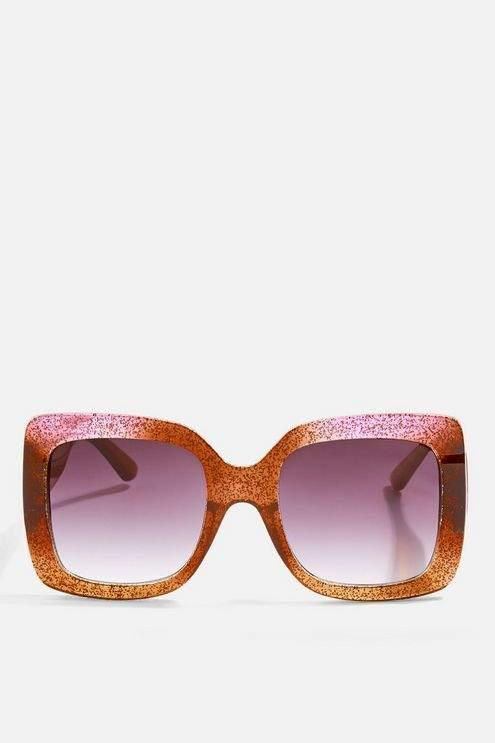 Topshop Womens Wendy Glitter Square Sunglasses