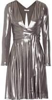 Halston Heritage Cutout Pleated Lamé Mini Dress