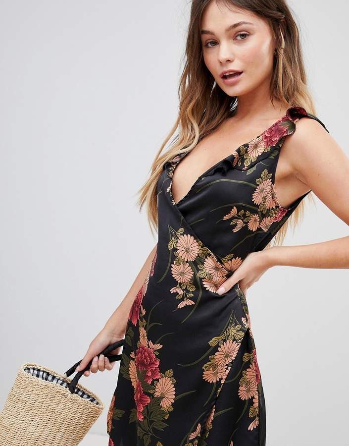 Parisian Floral Print Wrap Dress With Frill Shoulder