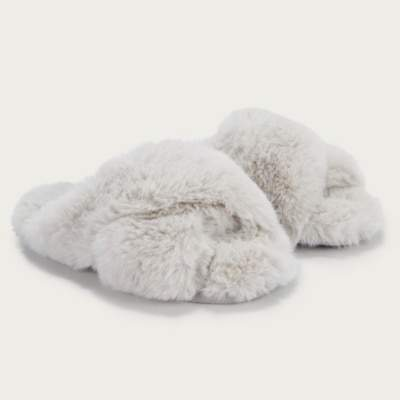The White Company Faux-Fur Cross Slider Slippers, Pale Grey, L(7/8)