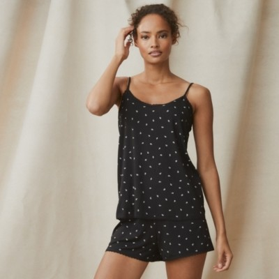 Ditsy Leaf Shortie Pyjama Set, Black, Medium