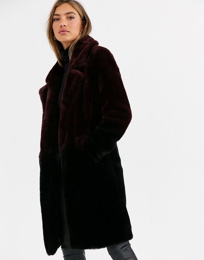 Urbancode coat in ombre faux fur-Black
