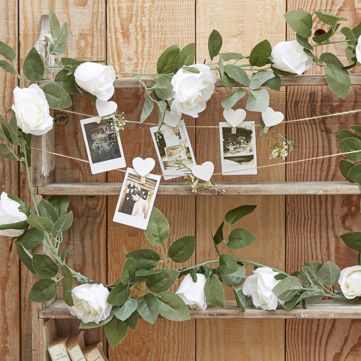 The Wedding of my Dreams Artificial White Rose Decorative Garland