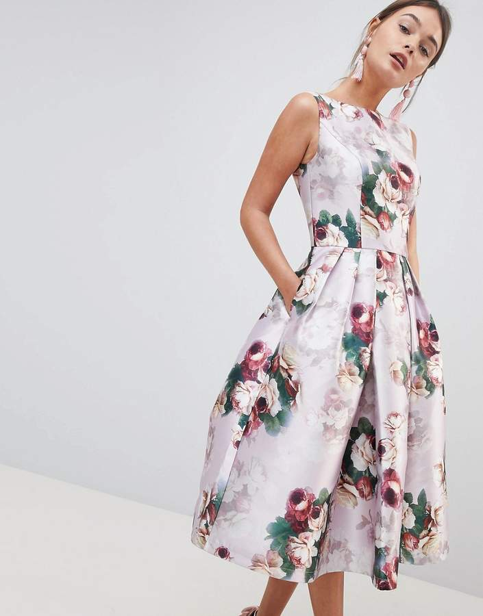 Chi Chi London Midi Dress In Floral Print
