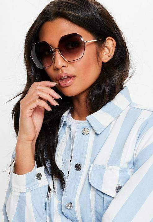 Gold Look Oversized Hex Sunglasses, Gold