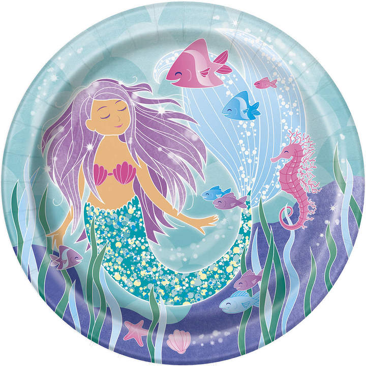 Bubblegum Balloons Purple Mermaid Paper Plates