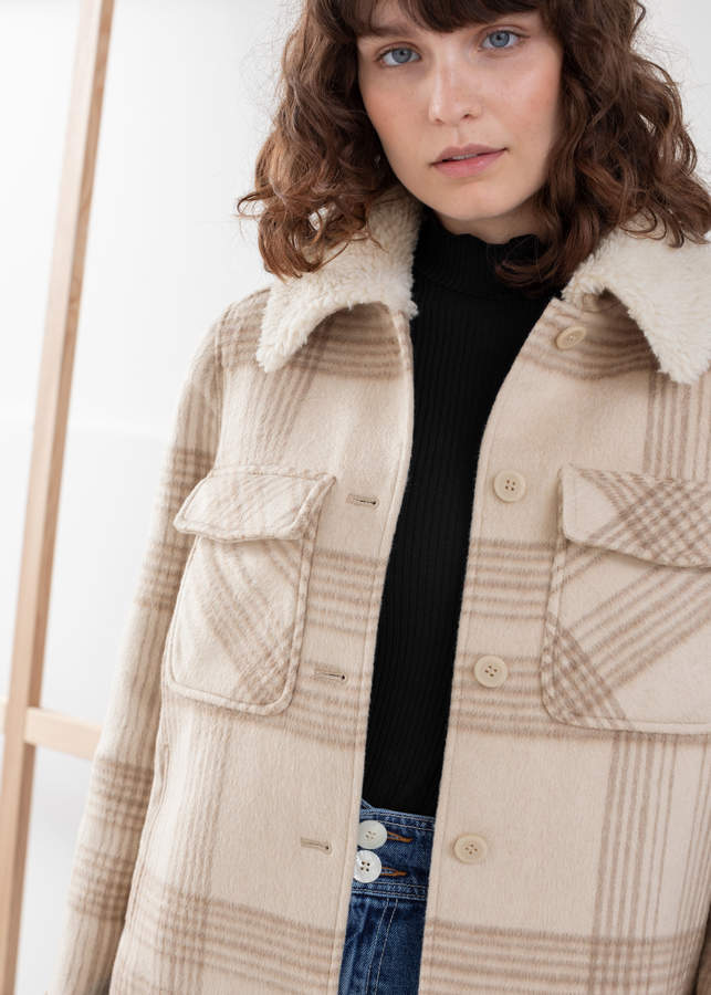And other stories Faux Shearling Collar Plaid Jacket