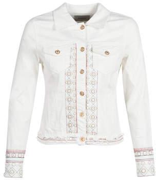 Desigual PINK BOHO women's Denim jacket in White