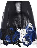 3.1 Phillip Lim Lace-Paneled Textured-Vinyl Mini Skirt