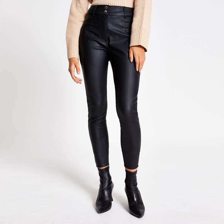 River Island Womens Black faux leather high waisted trousers