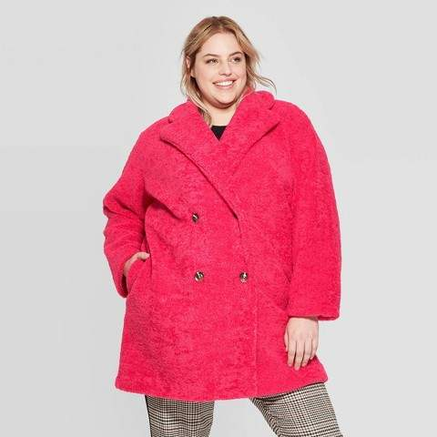 Women's Plus Size Long Sleeve Double Breasted Faux Fur Jacket - Who What WearTM