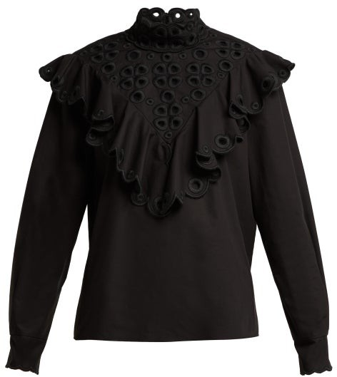 Fendi - Ruffle Broderie-anglaise Cotton Blouse - Womens - Black