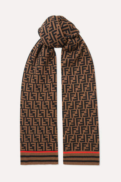 Fendi - Printed Cashmere And Wool-blend Scarf - Brown