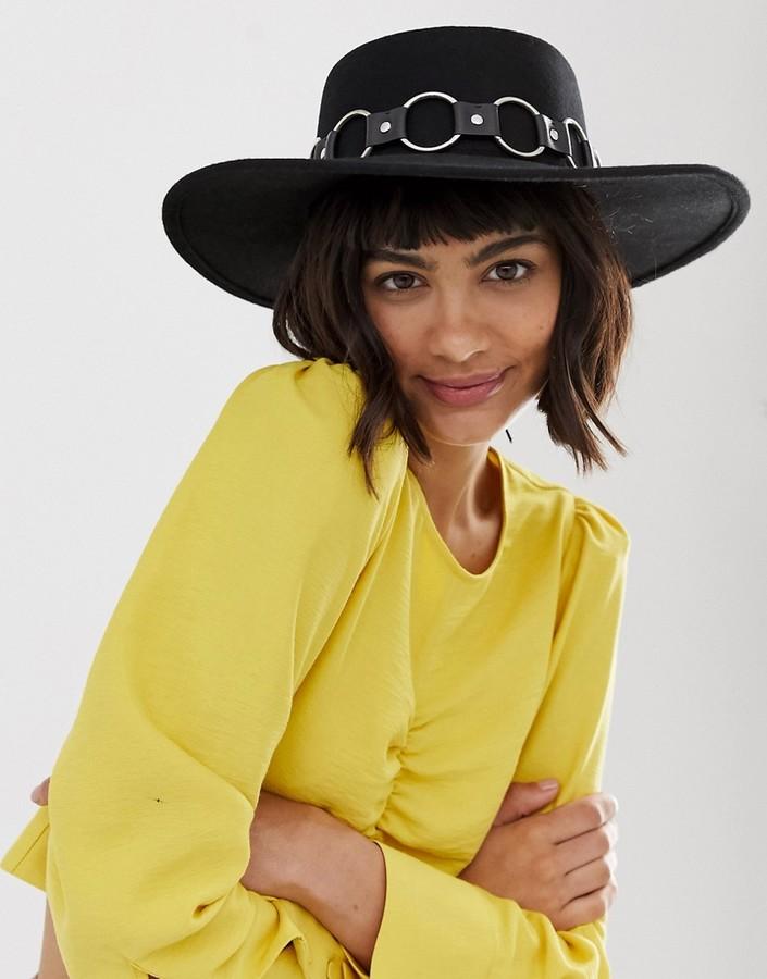 ASOS DESIGN felt matador hat with multi ring strap