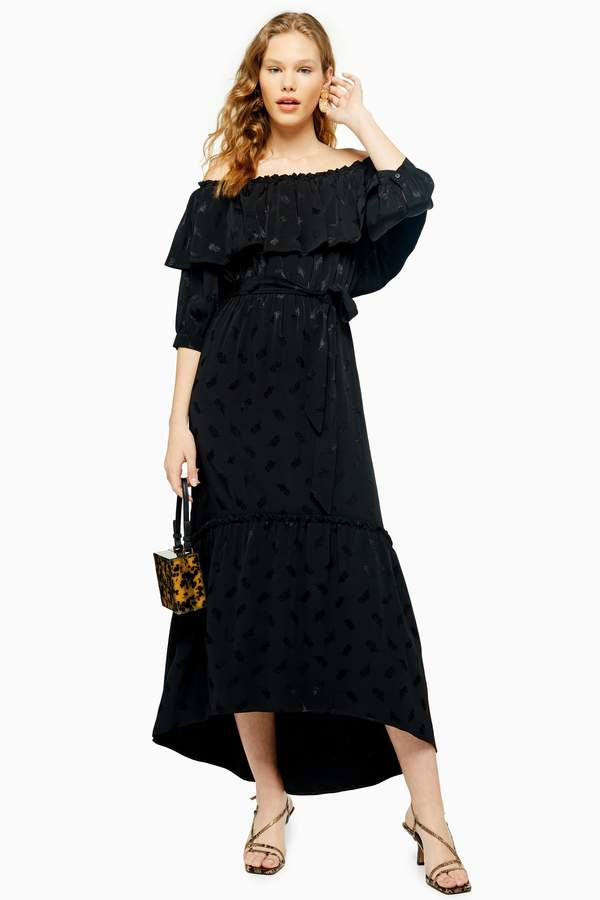 Topshop Womens Black Jacquard Bardot Dress - Black