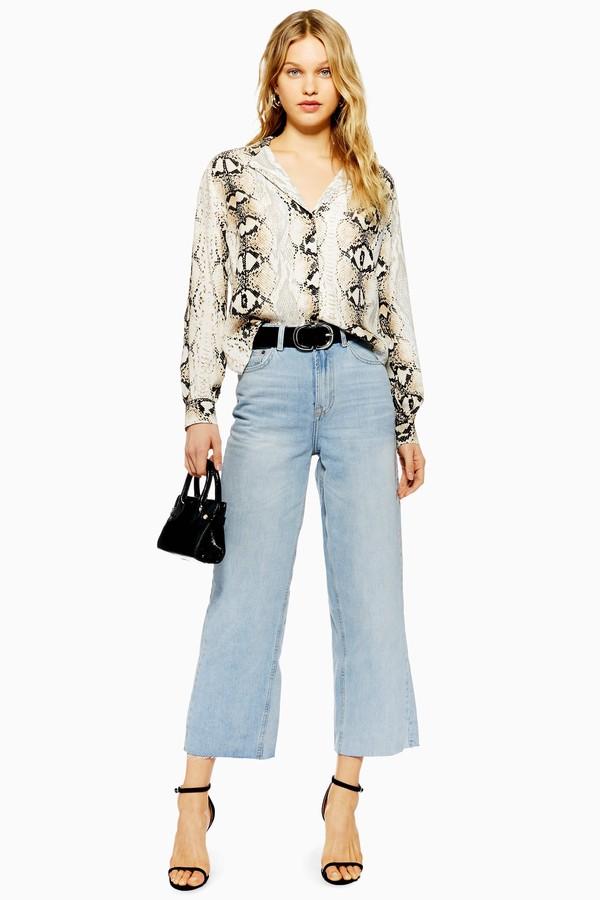 Topshop Womens Bleach Cropped Wide Leg Jeans - Bleach Denim