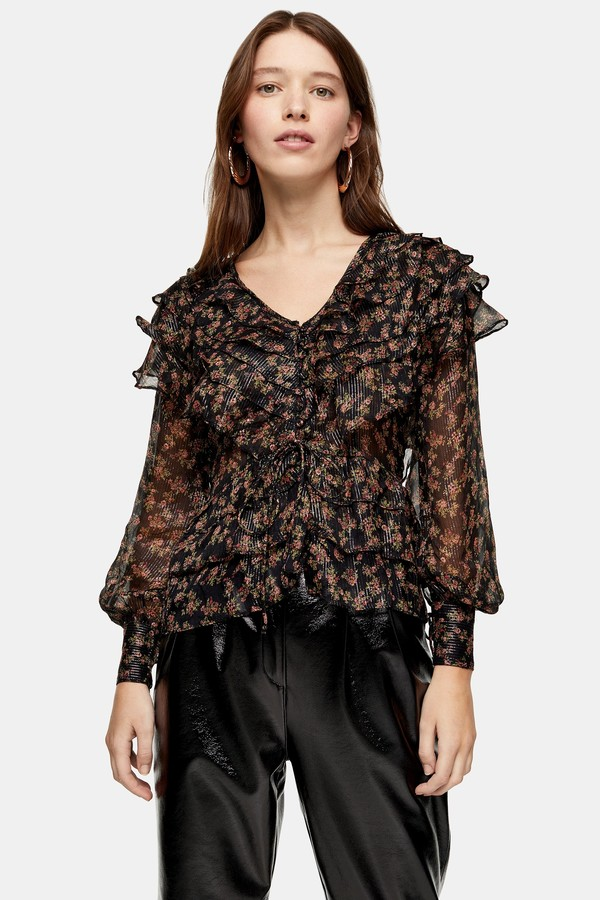 Floral Glitter Ruffle Blouse