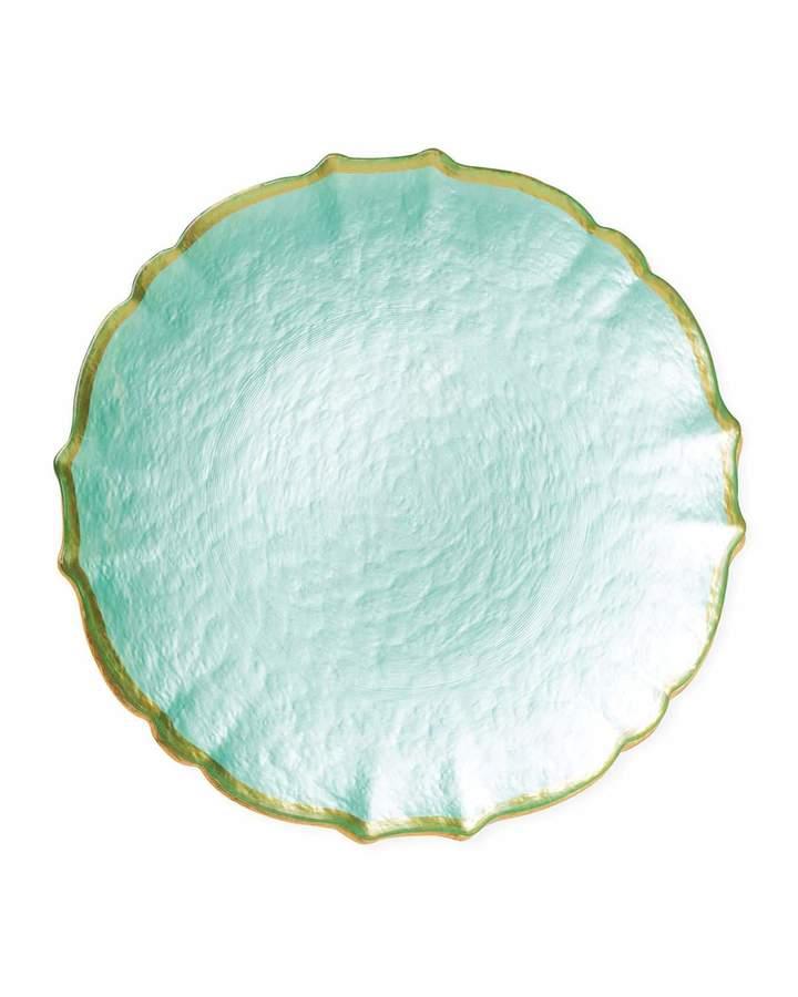 Vietri Pastel Glass Salad Plate, Aqua