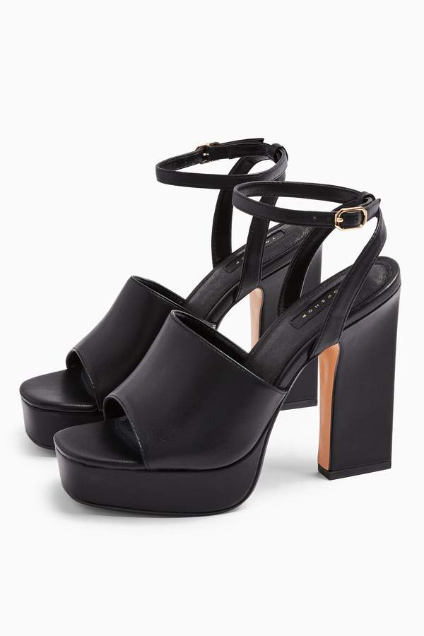 Topshop Womens Rafa Black Chunky Platform Shoes - Black