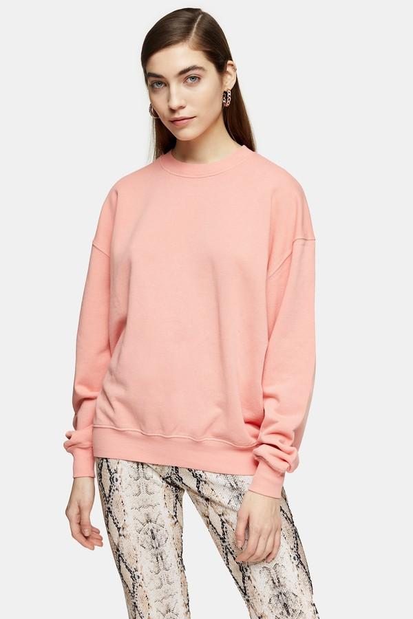 Womens Dusty Pink Stonewash Sweatshirt - Dusty Pink