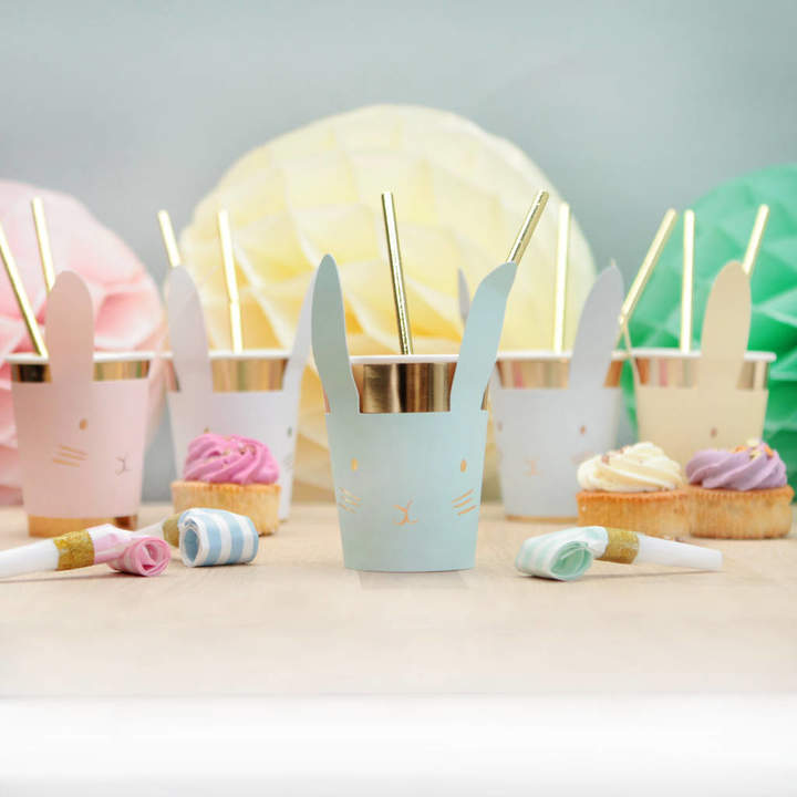 Postbox Party Pastel And Gold Bunny Rabbit Cups