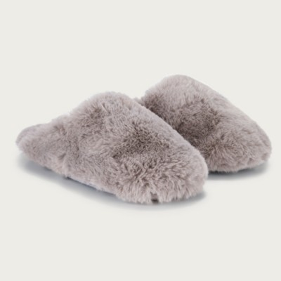 The White Company All-Over Faux-Fur Mule Slippers, Dark Grey, S(3/4)