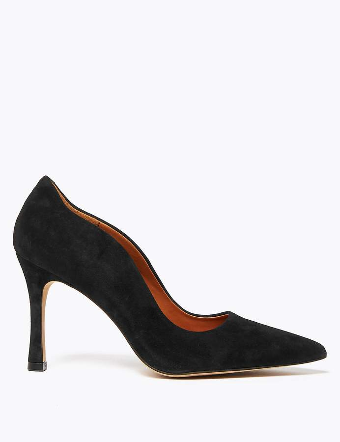 AutographMarks and Spencer Suede Curved Side Stiletto Court Shoes