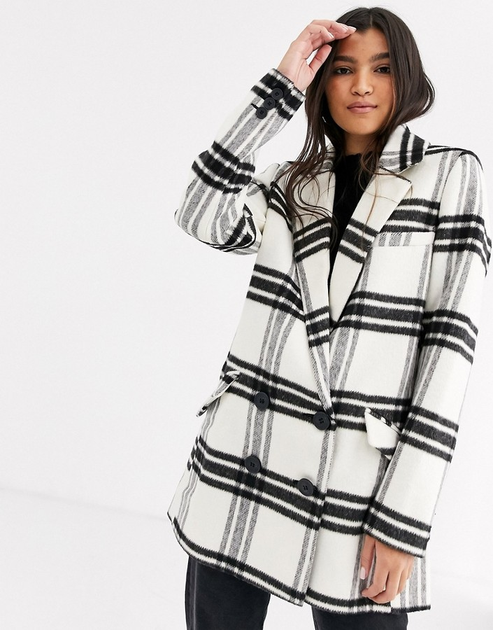 Asos Design ASOS DESIGN double breasted check coat-Multi