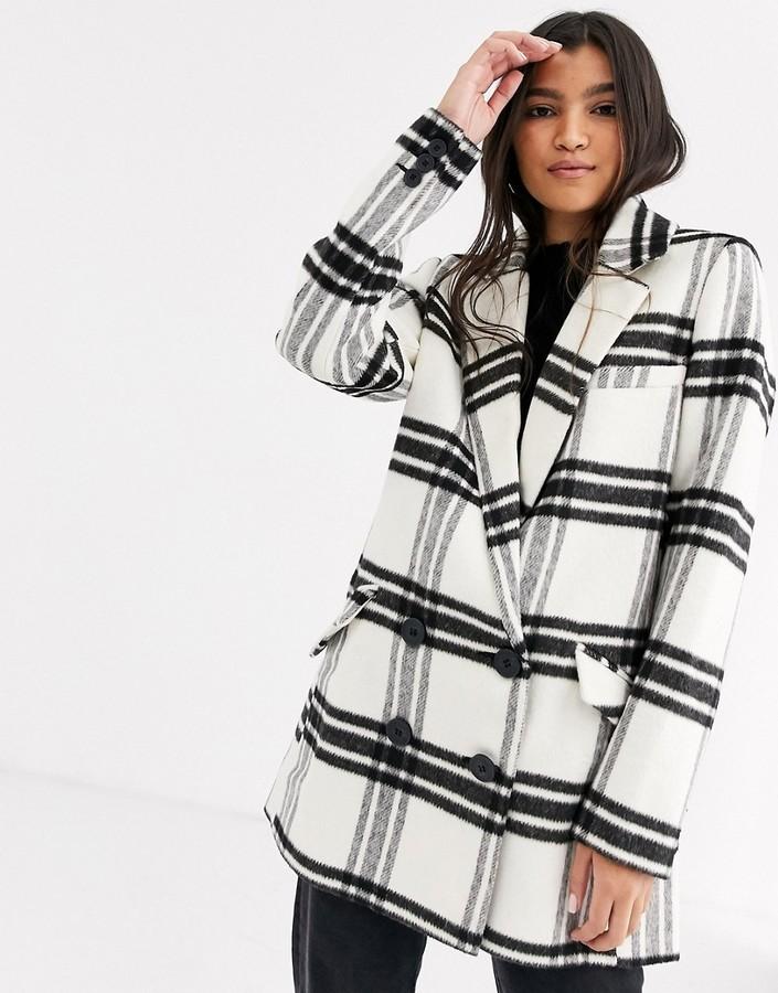 Asos Design ASOS DESIGN double breasted check coat