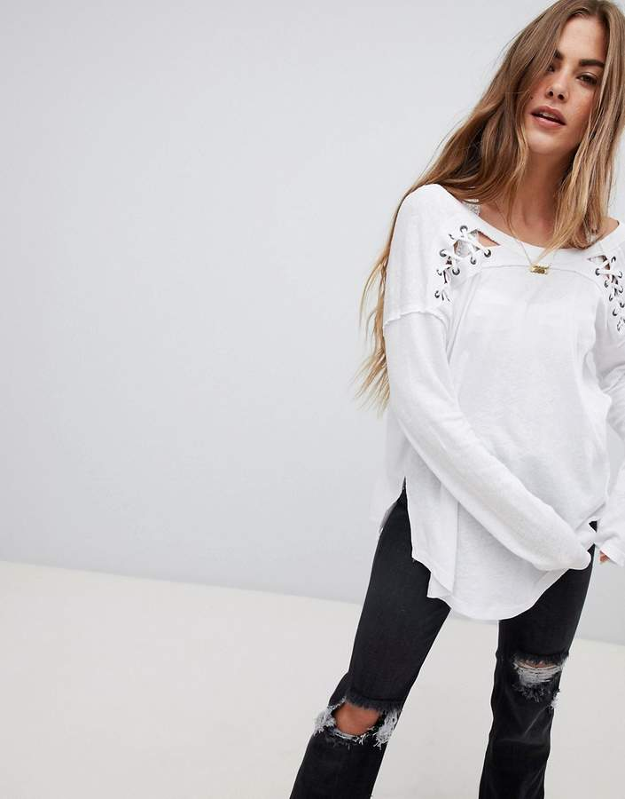 Free People First Love Lace Front Long Sleeved Top
