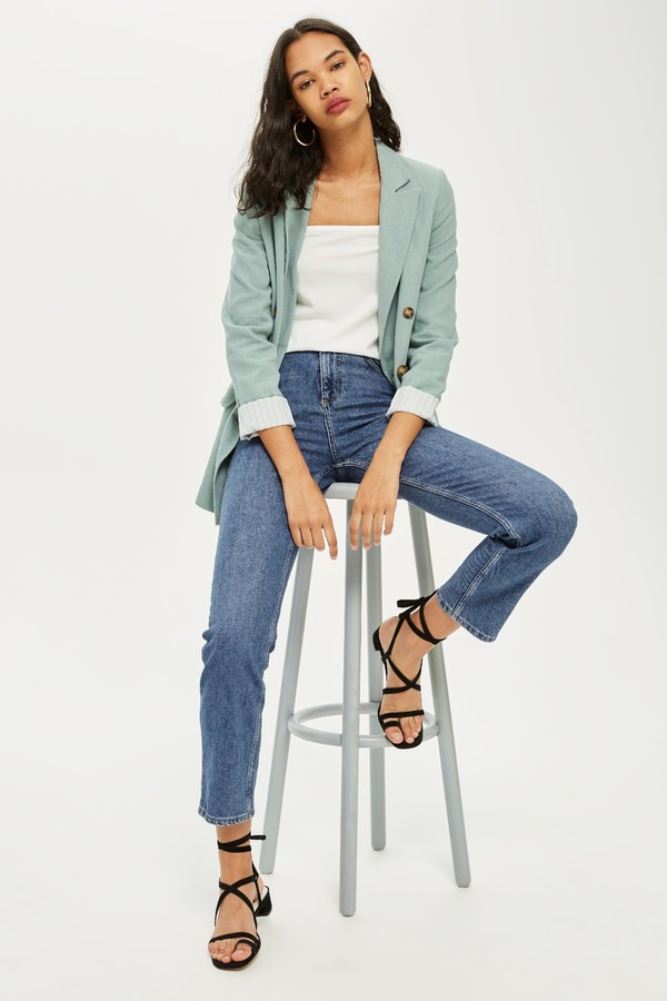 Topshop Womens Mid Blue Straight Leg Jeans - Mid Stone