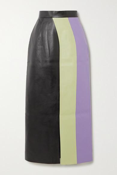 Materiel MATERIEL - Color-block Faux Leather Midi Skirt - Light green