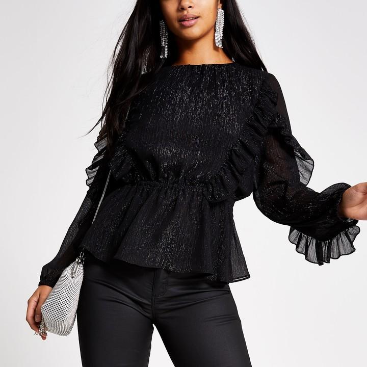 River Island Womens Petite Black long sleeve ruffle blouse