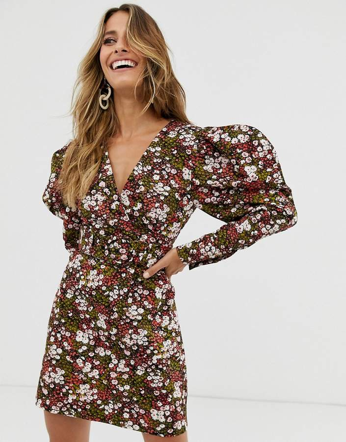 & Other Stories extra puff sleeves mini dress in floral print-Multi