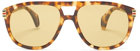Gucci - Aviator Tortoiseshell-acetate Sunglasses - Tortoiseshell