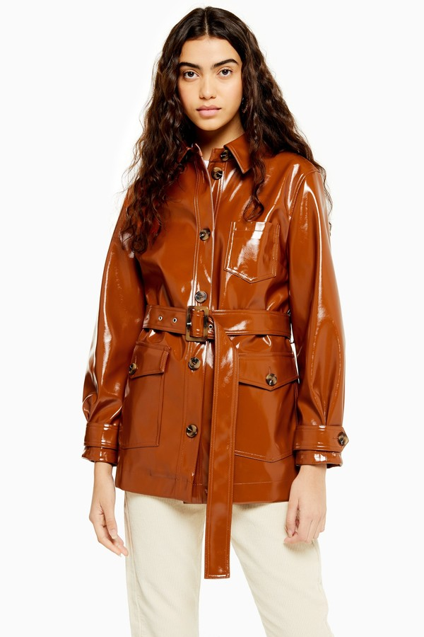 Topshop Womens Chicago Brown Belted Vinyl Coat - Tobacco