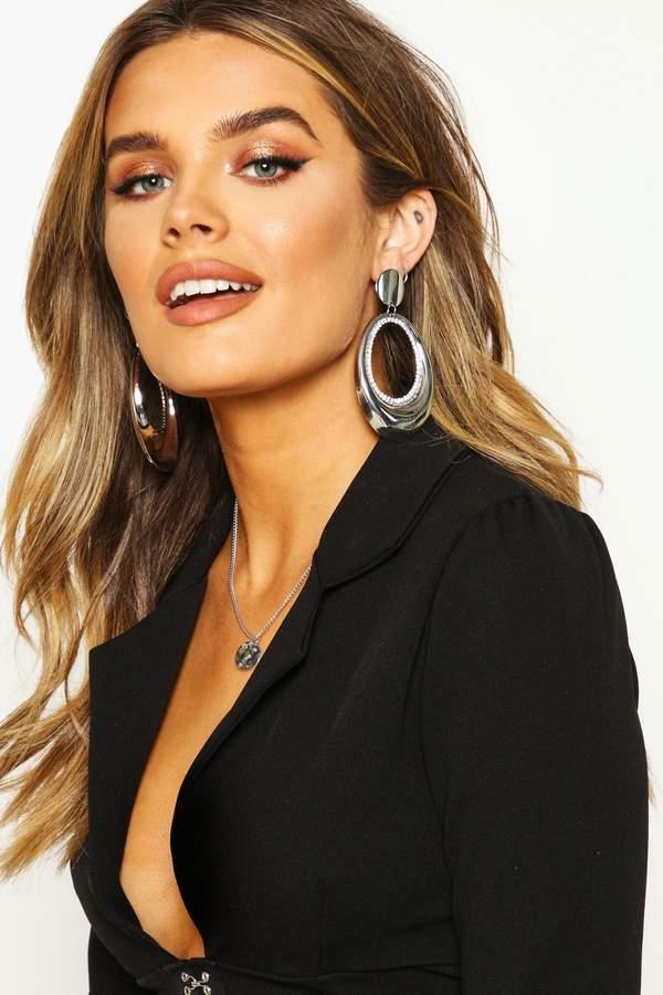 Oval Metal & Diamante Statement Earrings