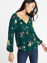 Floral-Print Boho Swing Blouse for Women