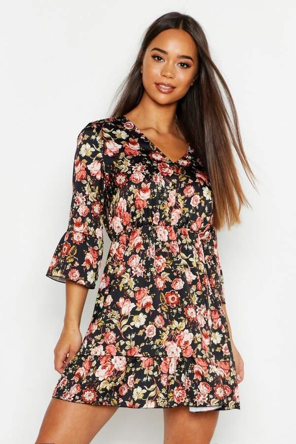 Boho Floral Satin Skater Dress