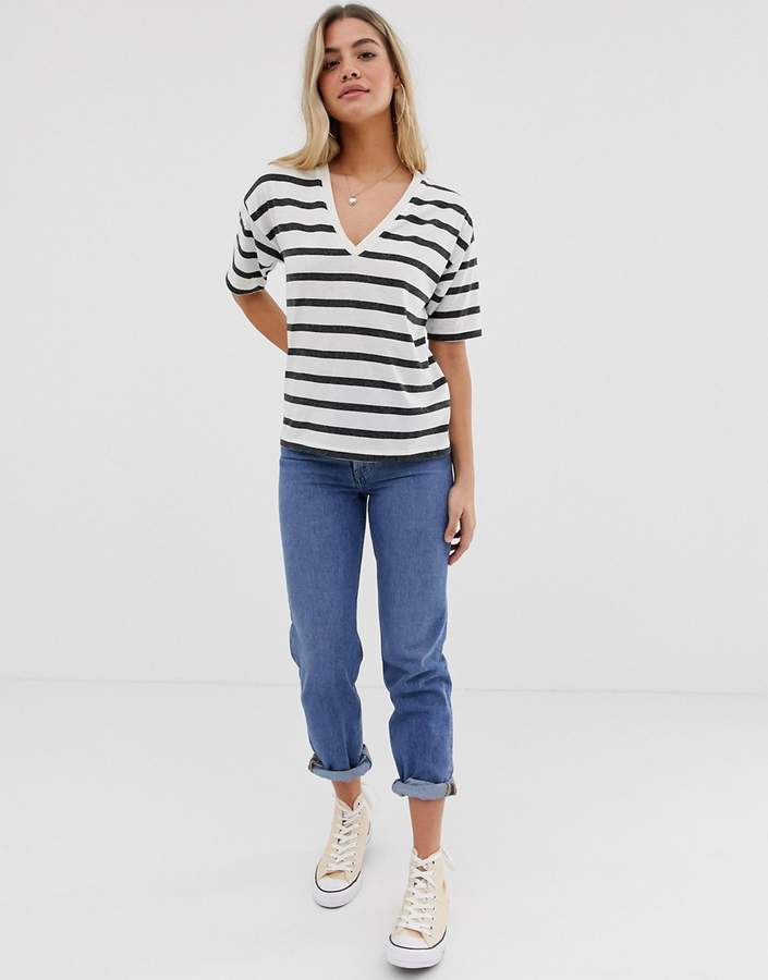 Asos Design ASOS DESIGN linen mix t-shirt with v-neck in stripe