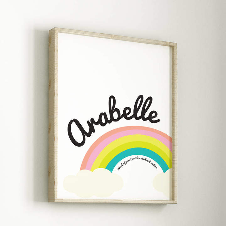 Rocks Design Personalised Rainbow And Cloud New Baby Print