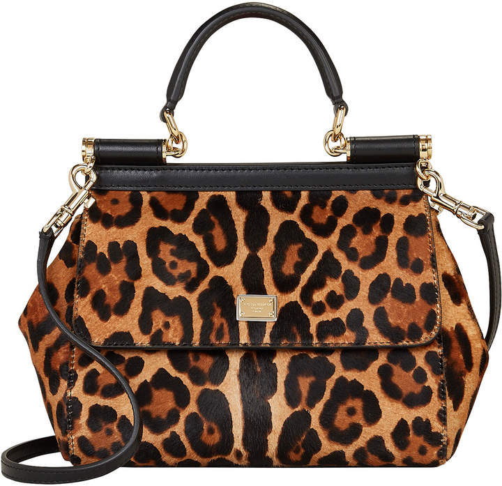 Dolce & Gabbana Medium Sicily Leopard Calfhair Crossbody Bag